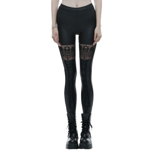 Gothic Skull Embroidered Leggings women's pant