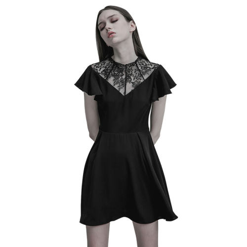 Gothic Lace Stitching V-collar Women's Dress