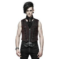 Goth Black and Red woven texture Men's Vest