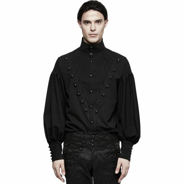 Gothic Gorgeous Disc Floret Long Sleeve Men's Shirt Black
