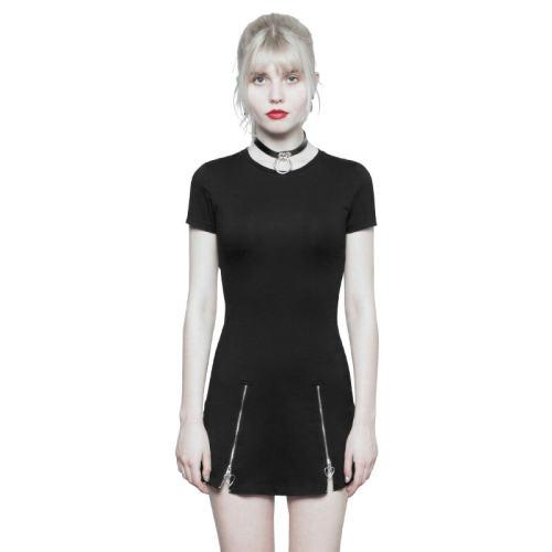 Punk Dark Minimalist Slim Short Sleeve Age-cut Dresses