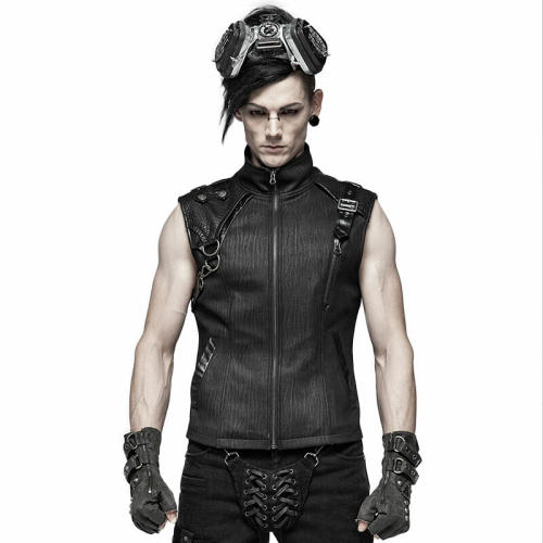 Handsome Punk men's dark-textured Vest