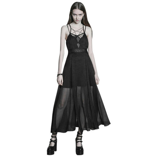 Goth Strap Lace Chiffon Women's Dress