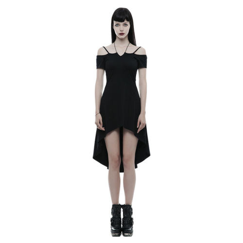 Gothic strapless slim Women's dress with rope necklace