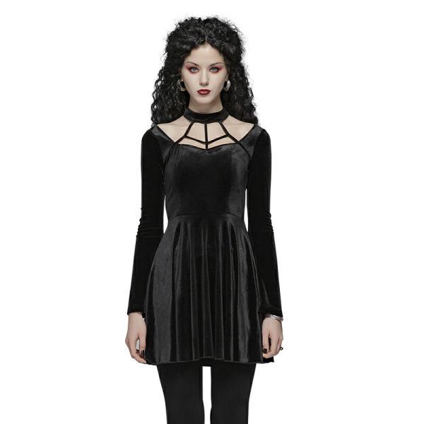 Gothic Daily elastic Velvet Women's Simple Dress black