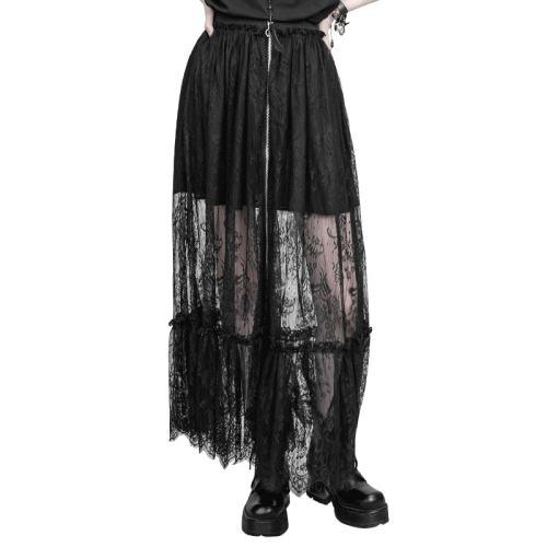 Gothic Zipper Lace Women's Half Skirt Black