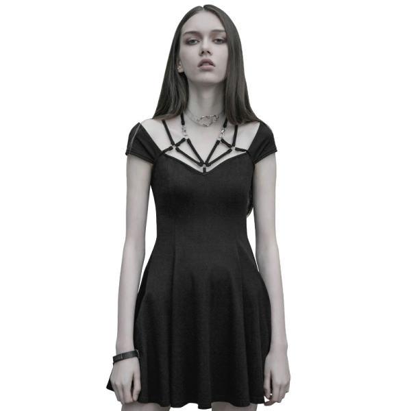 Punk Sexy V collar Tight Strap Women's Dress Black