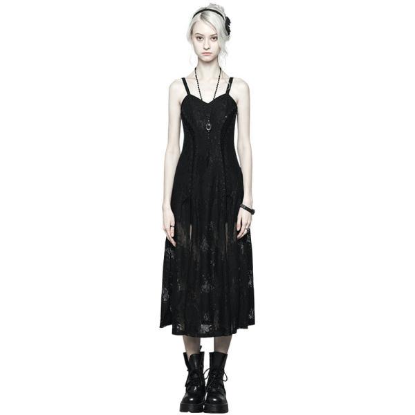 Gothic Dark Lace Strap Heavy Industry Corn Rope Slit Dress