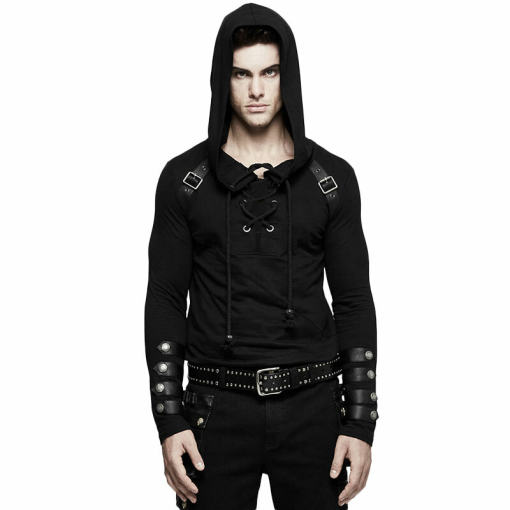 Punk Long Sleeve Hooded Men's Sweater