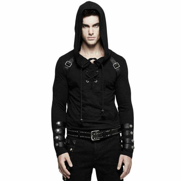 Punk Long Sleeve Hooded Men's Sweater