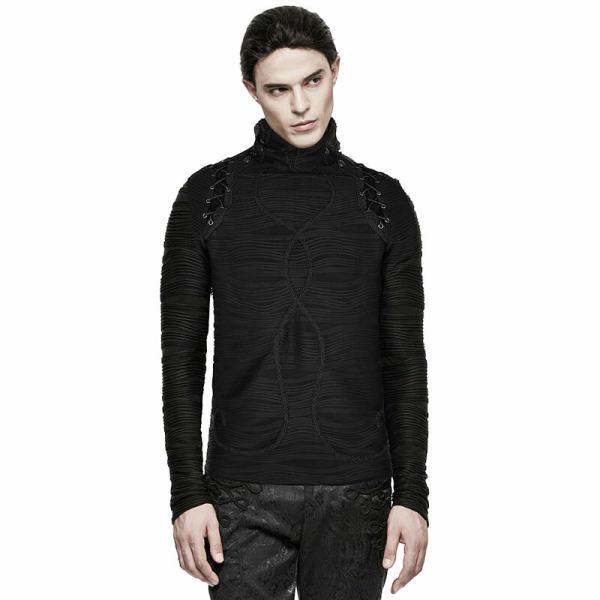 Gothic Stereo Stripe Knitted Men's Black T-shirt