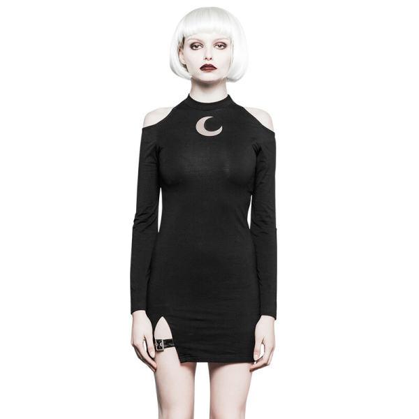 Gothic Strapless Shoulder Fork Women's Dress