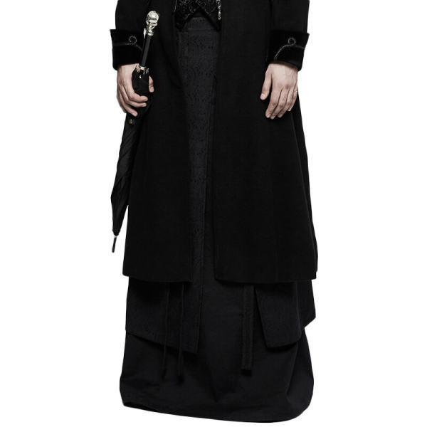 Gothic Half Men's Black Long Skirt