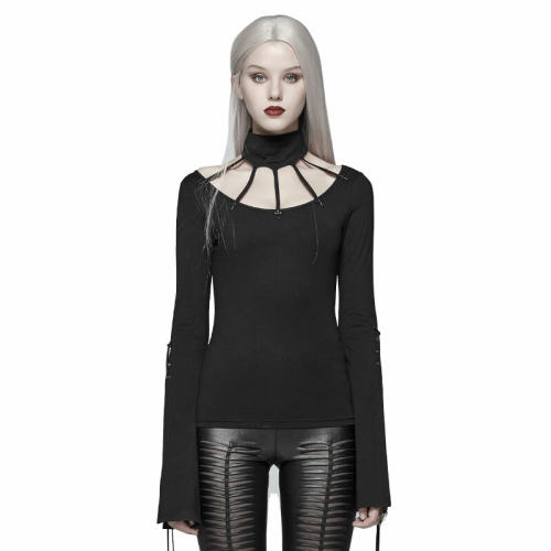 Goth Bat Messenger Knitted Long Sleeves Women's T-shirt