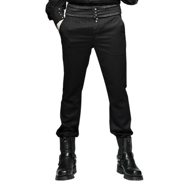 Steam Punk Striped Men's Trousers Black