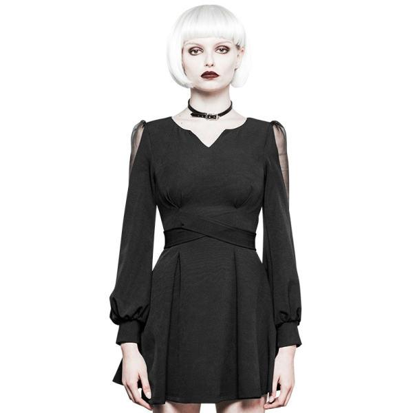 Gothic Ultra-high belt V-collar Women's Dress
