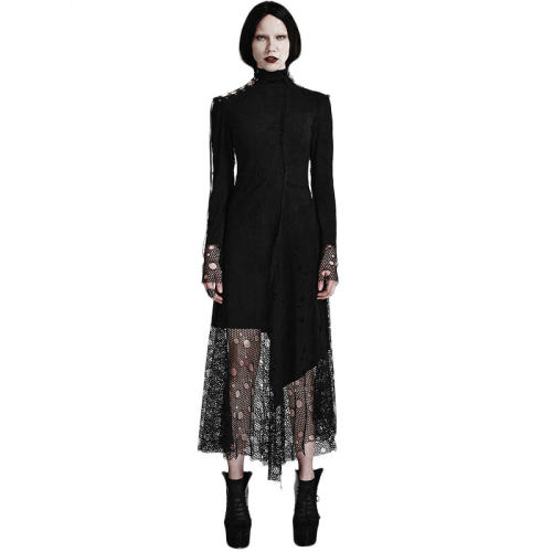 Asymmetric Punk Mesh Stitching Women's Dress