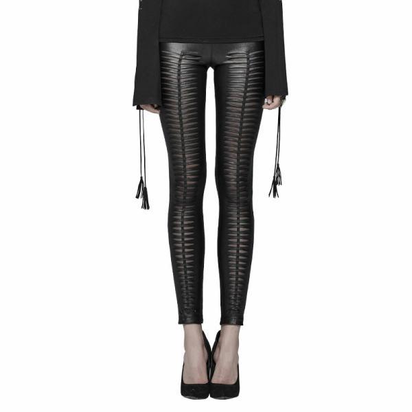 Gothic Devil Footprints Women's Leggings Black/Red