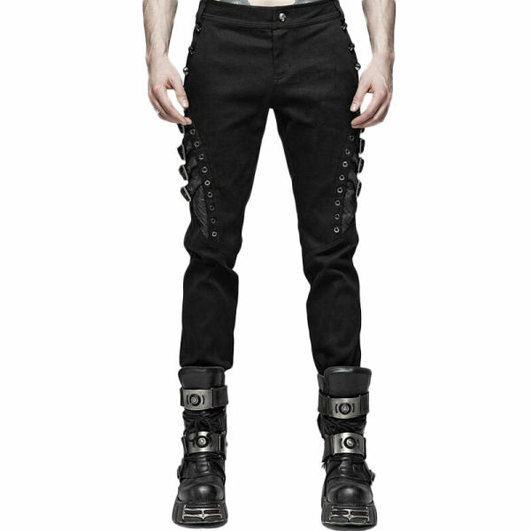 Punk Slim fit Men's Trousers Black