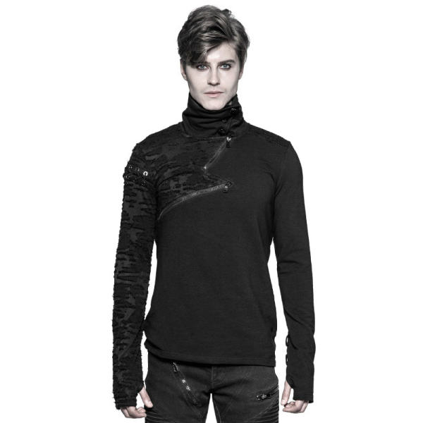Punk High collar  S  Men's black Sweater