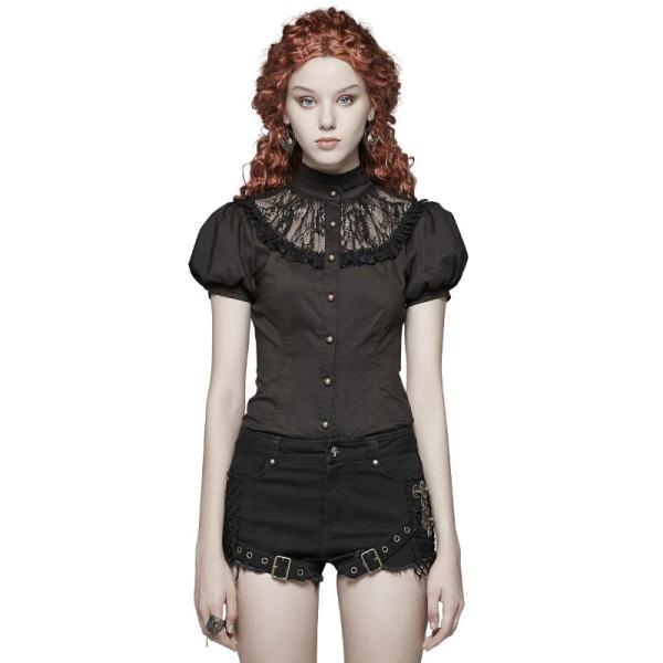 Steampunk Puff Sleeve Women Lace Shirt