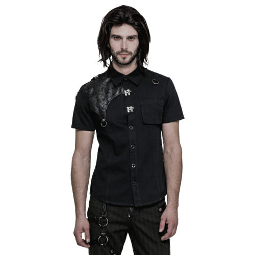 PUNK Fitted metal buckle Men's Shirt