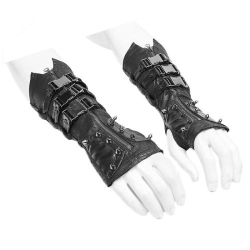 Punk Metal Men's Gloves Black
