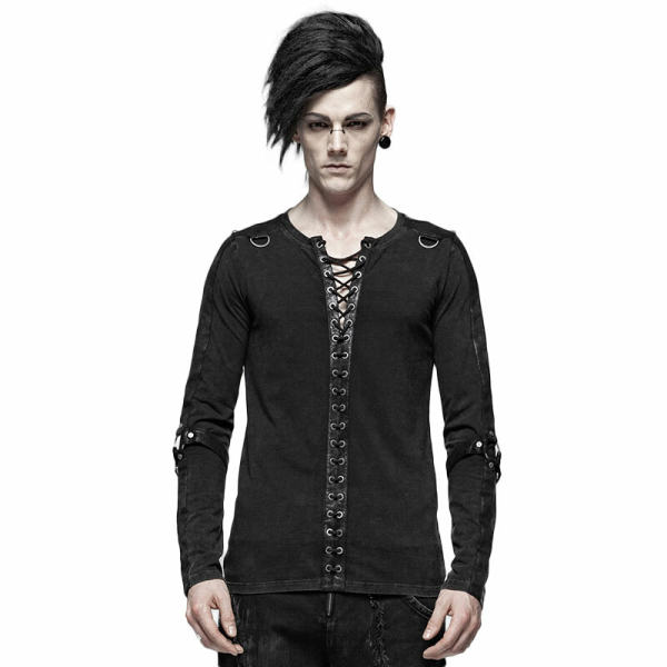 Steampunk Long Sleeve Men's Black T-Shirt
