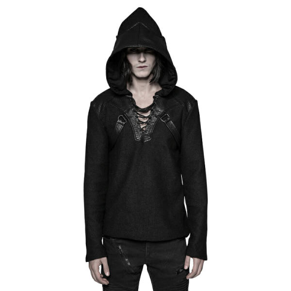 Punk Pullovers Dragon wing Hat Men's Sweater