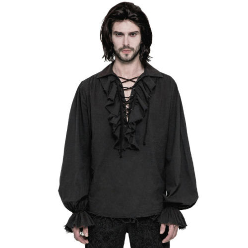 Steampunk Long Sleeve  Loose men's Shirt