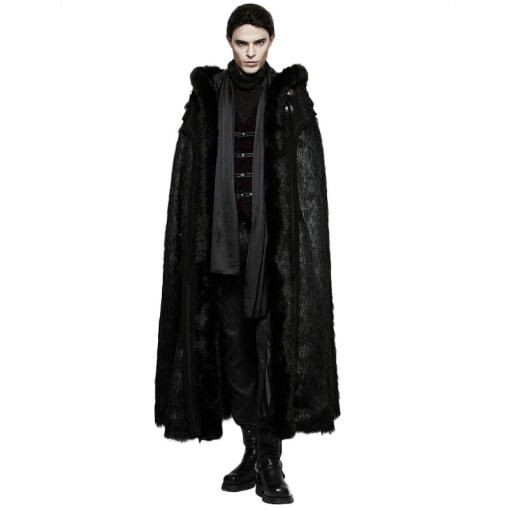 Gothic Witch Long Fur Black Men's Cloak