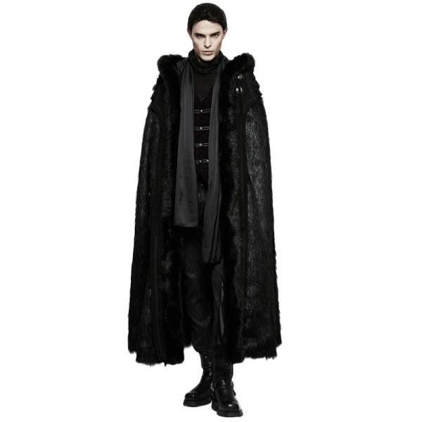 Gothic Witch Long Fur Black Men's Cloak
