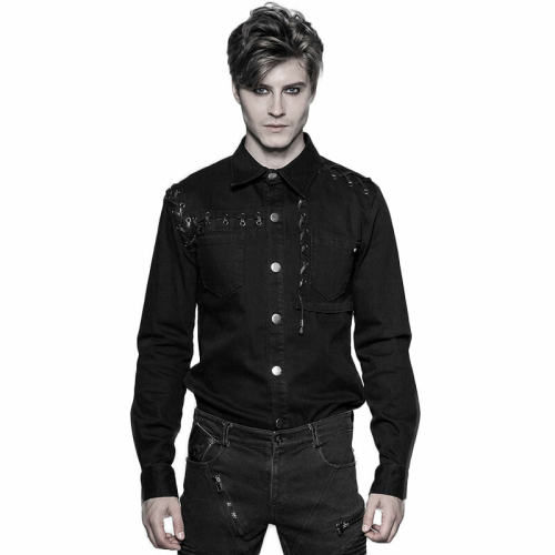 Punk Long-sleeved Men's Shirt black