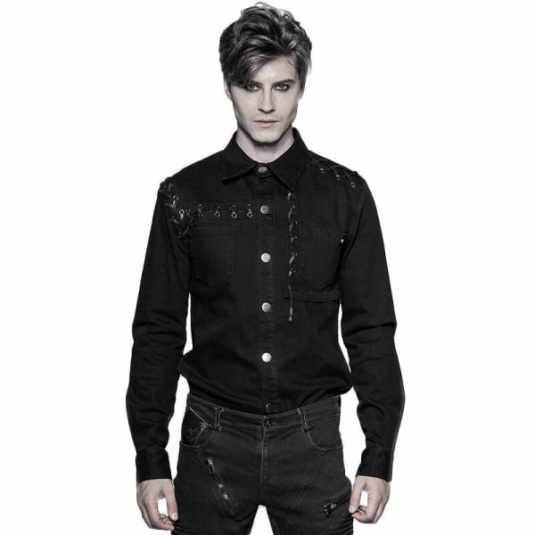 Punk Long-sleeved Men's Shirt black