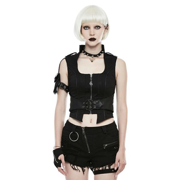 Punk  Handsome Personalized Pocket Women's Vest