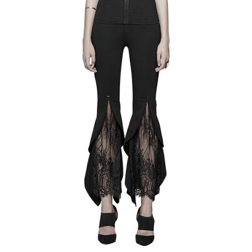 Gothic Flared Lace Women's Leggings Trousers Black