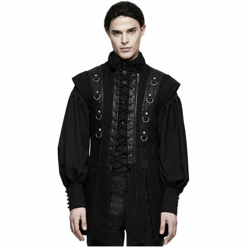 PUNK Men's Black PU Leather Vest
