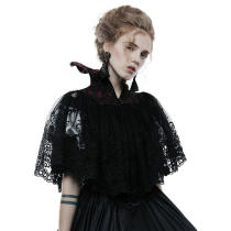 Gothic bat women's black short cloak
