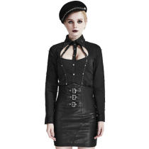 Punk Metal Pu Leather Women's Shirt