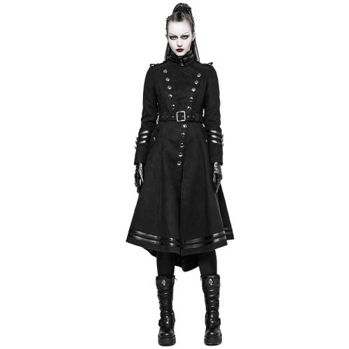 Punk Military Uniform Worsted Long Women's Coat