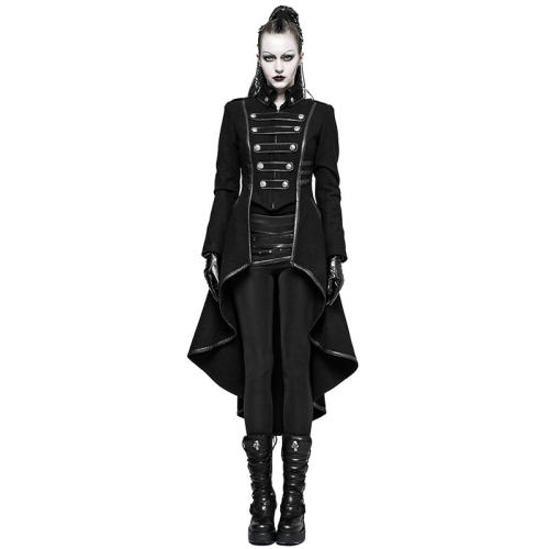 Punk Military Uniform Worsted Women's Long Coat
