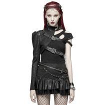 Punk Asymmetric One-arm Short Women's Coat