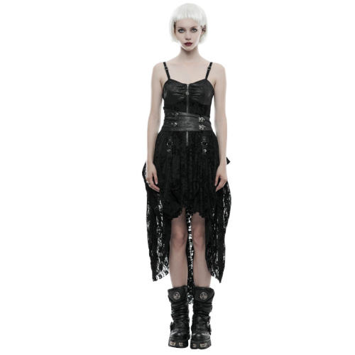 Steam Punk Women's Lace Dress Black/Coffee