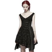 Punk women's black sex Deep V Dress