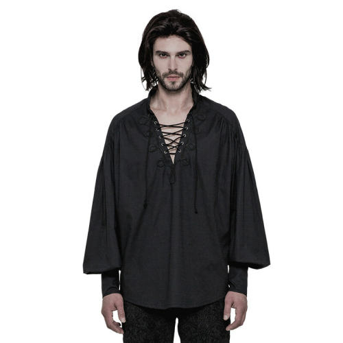 Gothic Long Sleeve Men's Shirt Black