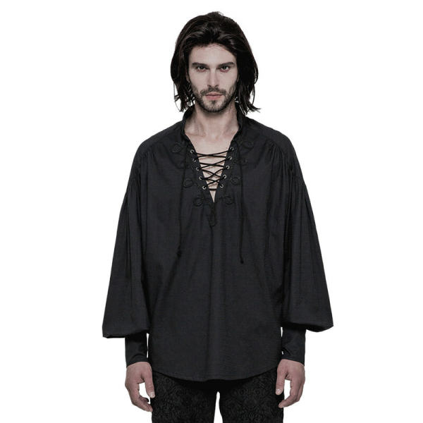 Gothic Long Sleeve Men's Shirt Black