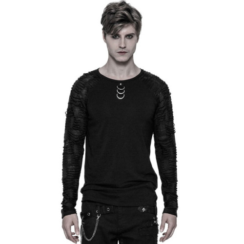 Punk Men's Long Sleeve T-shirt Black