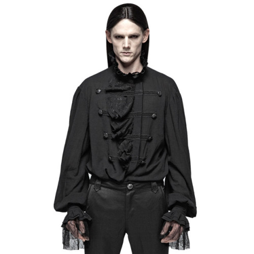 Gothic Partial Placket Lotus Leaf Loose Men's Shirt