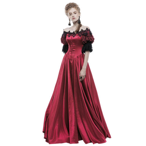 Gothic Victorian Vintage Palace Women's Long Dress Red