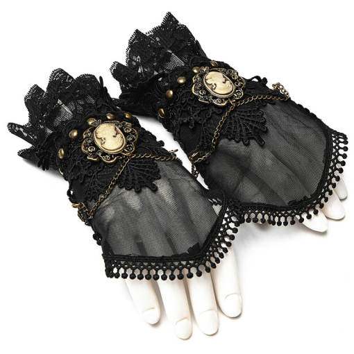 Steam punk women's black Gloves